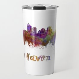 New Haven skyline in watercolor Travel Mug