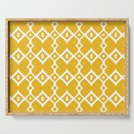 Yellow Chevron Diamond Pattern Serving Tray