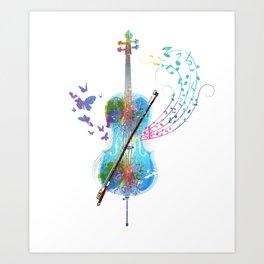 Butterfly Cello Instrument Art Print