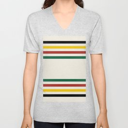Rustic Lodge Stripes Black Yellow Red Green Unisex V-Neck