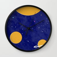 solar system Wall Clocks featuring Solar System by Quinn Shipton