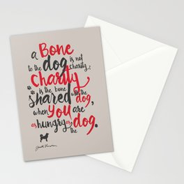 "Jack London on Charity - or ""a bone to the dog"" Illustration, Poster, motivation, inspiration quote, Stationery Cards"