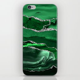 Glamour Emerald Bohemian Watercolor Marble With Silver Glitter Veins iPhone Skin