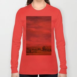 Scenic Autumn Late Afternoon in Vermont Nature Art Landscape Oil Painting Long Sleeve T-shirt