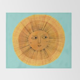 Sun Drawing Gold and Blue Decke