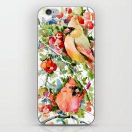 Cardinal Birds and Hawthorn, Cardinal Bird Christmas Design art floral bird decor iPhone Skin