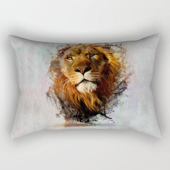 Water Color Splash Lion Rectangular Pillow