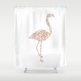 Flamingo Floral Watercolor Shower Curtain