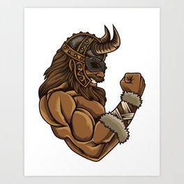 Viking At The Gym   Work Out Fitness Muscles Power Art Print