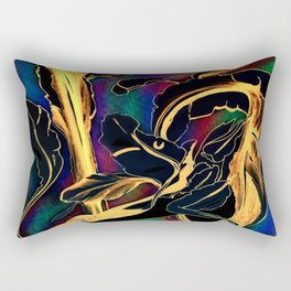 Blue Succulent Colorful Night, Black and Gold Rainbows Rectangular Pillow
