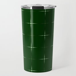 Glowing large green and small pearl stars on a dark background. Travel Mug