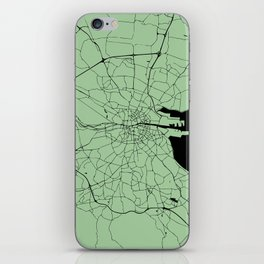 Dublin Ireland Green on Black Street Map iPhone Skin