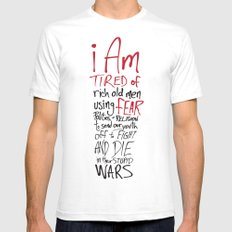 Tired of Wars Mens Fitted Tee SMALL White
