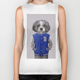 dog boy portrait Biker Tank