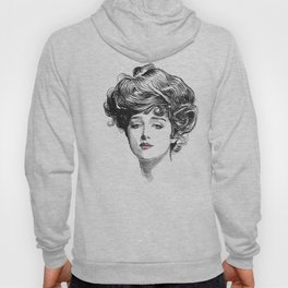 Gibson Girl with Green Eyes and Pink Lips Hoody