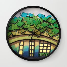 Rooftop Garden Architectural Illustration Wall Clock