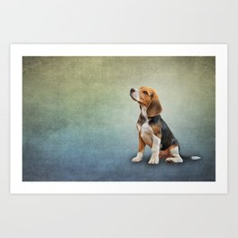 Drawing puppy Beagle Art Print