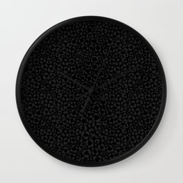 Subtle Black Panther Leopard Print Wall Clock