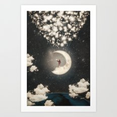 The Big Journey of the Man on the Moon  Art Print
