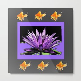 Gold Fish Purple Color Abstract Water Lily Grey Art Metal Print