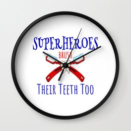 Superhero's Brush Their Teeth Too Funny Wall Clock