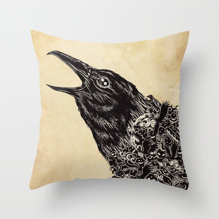CROW-ded Throw Pillow