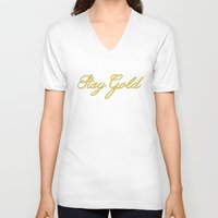 stay gold V-neck T-shirts featuring Stay Gold by bitobots