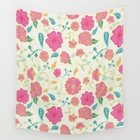 sassy Wall Tapestries featuring Sassy Floral by Anna Roybal