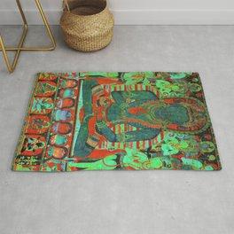 Psychedelic Buddha Lotus Thangka Green Rug