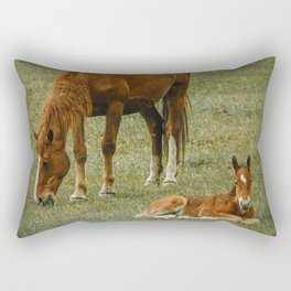 Horse And Foal Rectangular Pillow