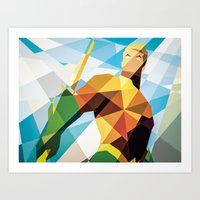 dc comics Art Prints featuring DC Comics Aquaman by Eric Dufresne
