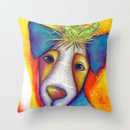 Dog Bird Nest Jack Russell Terrier Original Art The Nest Throw Pillow