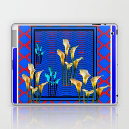 Blue Art White Calla Lilies Red Patterns Laptop & iPad Skin