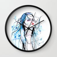 agnes cecile Wall Clocks featuring Agnes Cecile inspired painting  by SOLMONTASER