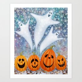 3 ghosts, 4 pumpkins Art Print