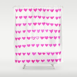 Surrounded by Hearts Shower Curtain