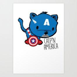 Superhero Cat Catp'n America Cute Kitten Art Print