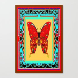 Southwestern Style Design With Red-gold Swallow Tail Butterfly Canvas Print