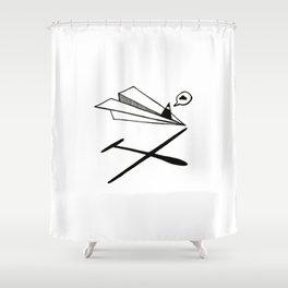Ninja flies a Paper Plane Shower Curtain