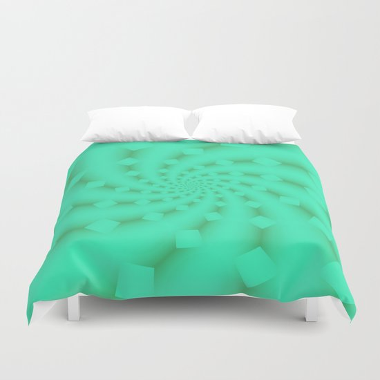 Tess Fractal in Honeydew Duvet Cover