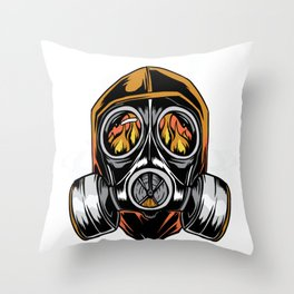 GasMask Fire Throw Pillow