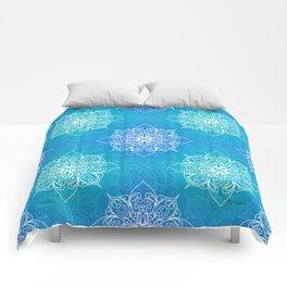 Aqua Mandala Pattern Comforters