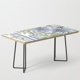 Asters and Wild Flowers Botanical Nature Floral Coffee Table