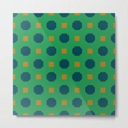 Vintage geometric on green Metal Print