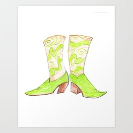 Crazy Cowgirl Boots Art Print