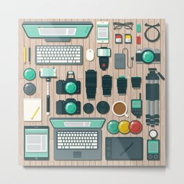 Photographer's Workspace Metal Print