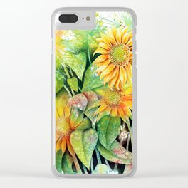 Colorful Sunflowers Clear iPhone Case