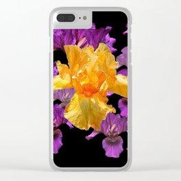 LILAC PURPLE & GOLDEN IRIS ART PATTERN BLACK DESIGN Clear iPhone Case