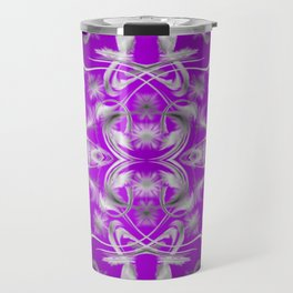dark purple and silver Digital pattern with circles and fractals artfully colored design for house Travel Mug