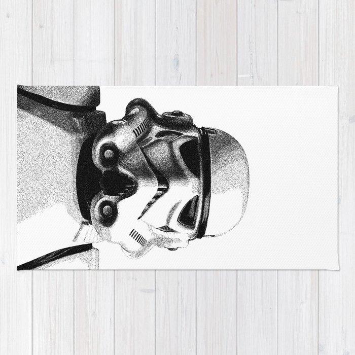 Stormtrooper Hand Drawn Dotwork - StarWars Pointillism Artwork Rug